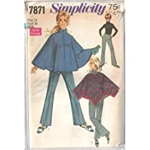 Vintage Simplicity 7871 Misses' Zip Stand Collar Cape or Pullover Fringed Poncho with Dart Fitted Faced Waist Zip Bell Bottom Pants Sewing Pattern Check Offers for Size