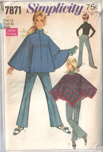 Vintage Simplicity 7871 Misses' Zip Stand Collar Cape or Pullover Fringed Poncho with Dart Fitted Faced Waist Zip Bell Bottom Pants Sewing Pattern Check Offers for Size ()