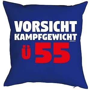 Almohada con un moderno Cumpleaños Diseño: Vorsicht, Lucha Peso. ü55–Sofá Cojín–Regalo–Color Azul