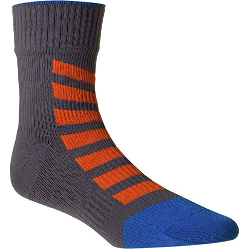 SEALSKINZ MTB Ankle Sock with Hydrostop Anthracite/Orange/Blue, L - Men's by SEALSKINZ
