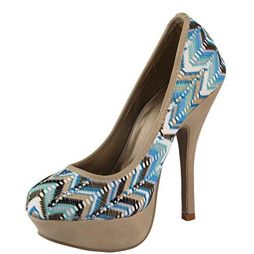 Unbekannt - Zapatos de vestir de Material Sintético para mujer Negro negro Negro - azul