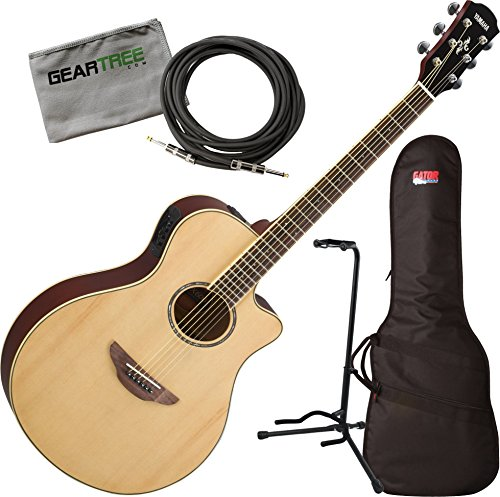 Yamaha APX600 NA Natural Thin Body Acoustic-Electric Guitar w/Bag, Stand, Cloth, Cable