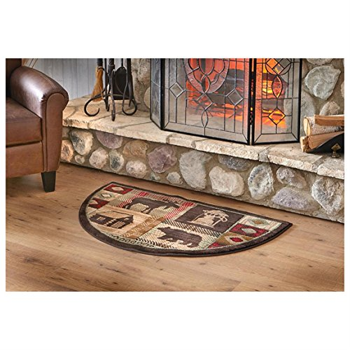 Wildlife Bear Moose Hearth Rug Fire Resistant, Flame Retardant Material, Protects Floor Around Fireplace, Hunting Themed Half Moon Mat, Use at Cabin