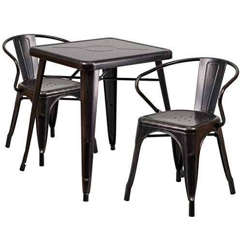 MFO 23.75'' Square Black-Antique Gold Metal Indoor-Outdoor Table Set with 2 Arm Chairs