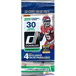 2019 Donruss NFL Football Factory Sealed JUMBO FAT Pack with 30 Cards Including (4) EXCLUSIVE BLUE PARALLELS! Look for Rookies & Autos of Kyler Murray, Dwayne Hoskins, Daniel Jones & More! WOWZZER!