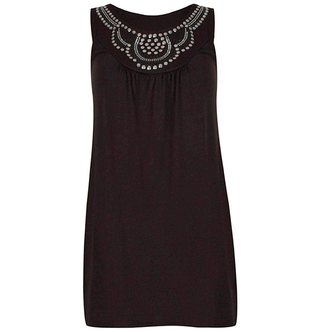 MA ONLINE Ladies Beaded Stud Flared Plus Size Tunic Top Womens Party Wear Sleeveless Long Vest Top US 10-24