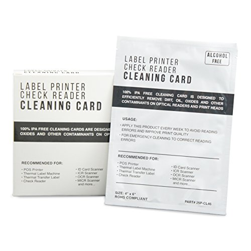 Thermal Printer Check Scanner Cleaning Cards - 4 x 6 Alcohol Free 25 Cards