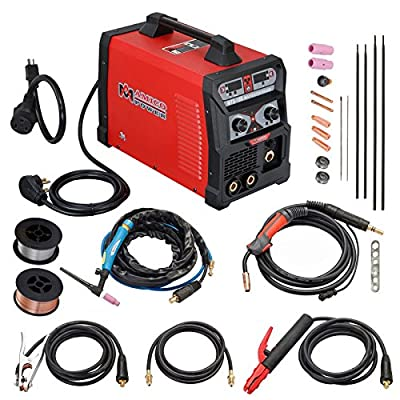 185 Amp MIG/Flux Cord Wire, TIG Torch, Stick Arc Welder 3-in-1 Combo Weiding (185A MIG TIG Stick Arc Welder)