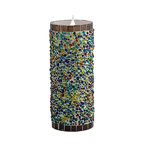 Mandarin Fla-SOL3D-3-8SS Speckled Stucco 3D Virtual Flame Candle, 8""