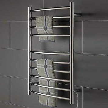 RENYAYA - Toallero eléctrico de Estilo Escalera Recta con Arco y calefacción, radiador termostático de baño de Acero Inoxidable: Amazon.es: Hogar