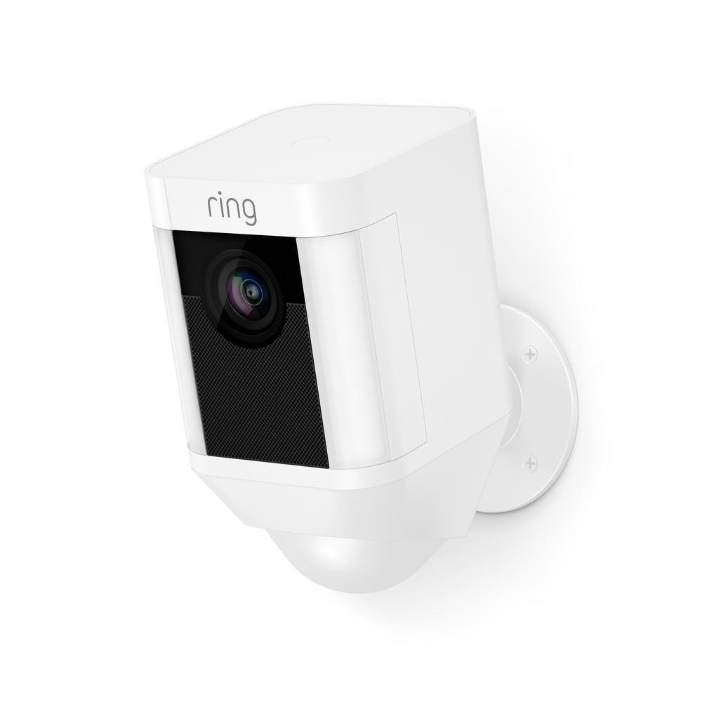 Ring Spotlight Cam Battery HD Security Camera with Built Two-Way Talk and a Siren Alarm, White, Works with Alexa (Renewed) by Ring