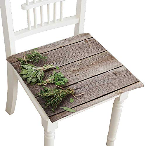 "HuaWuhome Chair Pads Squared Seat Fresh Garden Herbs on Wooden Table Oregano Thyme sage Rosemary top View with Outdoor Dining Garden Patio Home Kitchen Office 22""x22""x2pcs"