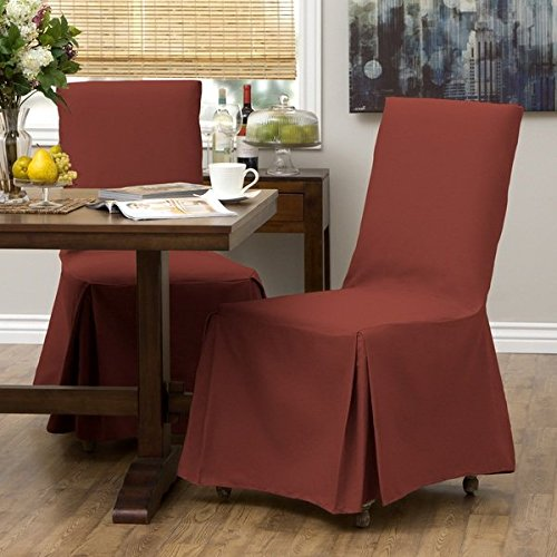 2 Piece Red Parsons Chair Slipcover, Form Fitting Style, Solid Pattern, Pure Duck Cotton Fabric, Gorgeous Quality, 34 in. H x 22 in. W x 22 in. D, Machine Washable, Burgundy Red (Chair Skirted Parsons)