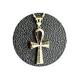 LoveBling 10K Yellow Gold Diamond Cut Ankh Cross Charm Necklace Pendant (2.26'' x 1'')