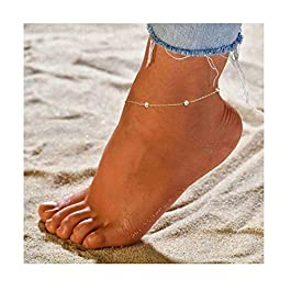 Wishoney Foot Chain Boho Beach Jewelry Layer Anklet for Women Adjustable Anklet