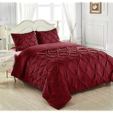 Beautiful and Luxurious King & Queen Home 3 Piece Pinch Pleat Comforter Set in Burgundy (Full)