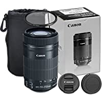 Canon EF-S 55-250mm f/4-5.6 IS STM Telephoto Zoom Lens for Canon EOS 7D, 80D, 60D, 77D, EOS Rebel T7i, T6, SL1, T1i, T2i, T3, T3i, T4i, T5i, XS, XSi, XT, Xti - International Version