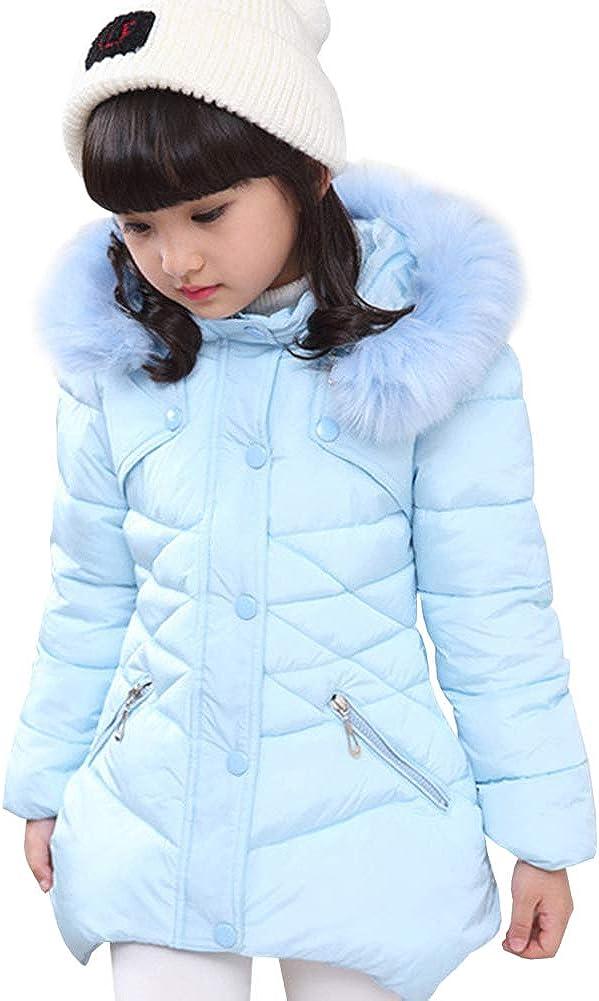 LSERVER Rgazza Giacca Invernale da Principessa Piumino Caldo con Cappuccio Bambina Cappotto a Manica Lunga