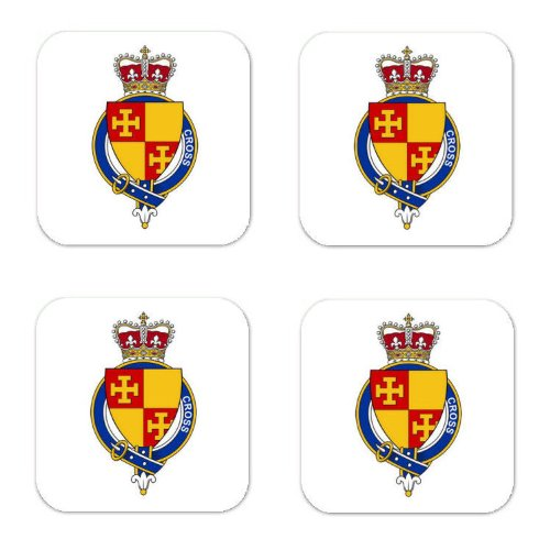 Cross England Family Crest Square Coasters Coat of Arms Coasters - Set of 4 ()
