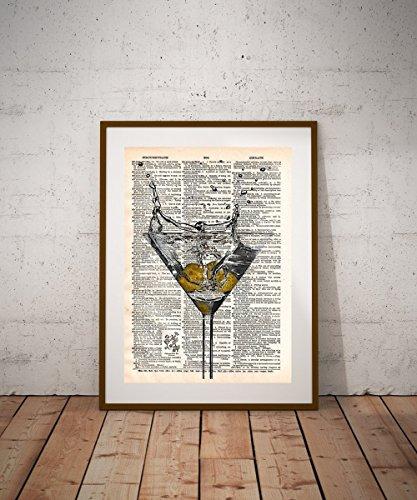 (Martini glass art, Martini bar art, kitchen art, vintage book page)