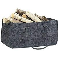 Relaxdays Vilten tas voor haardhout, draagbare mand voor brandhout, opvouwbare krantenhouder (h x b x d): 25 x 25 x 50…