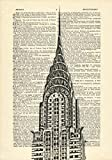 Chrysler Building New York Printed on Dictionary Paper