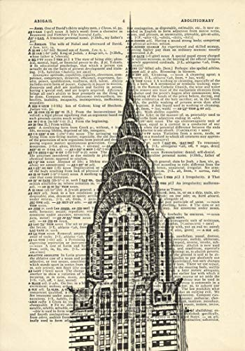 Chrysler Building New York Printed on Dictionary Paper -
