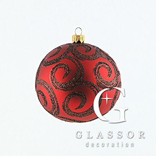 (Large ruby ball with glitter scroll Christmas ornament)
