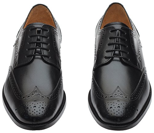 3dm Lifestyle Handcrafted Mens In Vera Pelle Classica Brogue Derby Punta Alari Lace Up In Pelle Foderata Traforata Abito Oxford Scarpe Nere