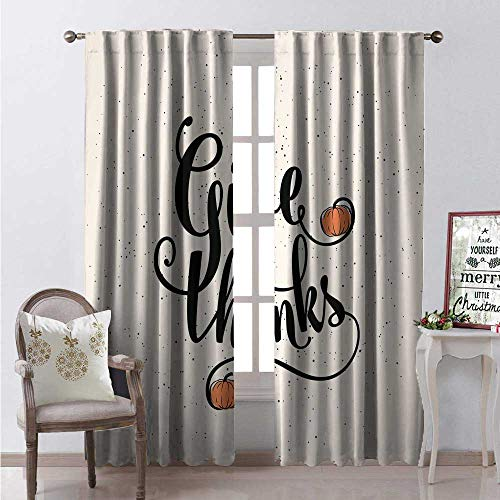 Hengshu Thanksgiving Window Curtain Fabric Cursive Give Thanks Text Little Pumpkins Print Drapes for Living Room W108 x L84 Champagne Burnt Sienna Charcoal Grey