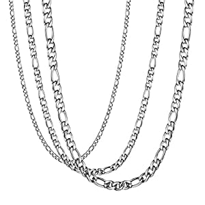 LOYALLOOK 3Pcs Assorted Stainless Steel Figaro Curb Chain Necklace for Men Women 18-36 Inches