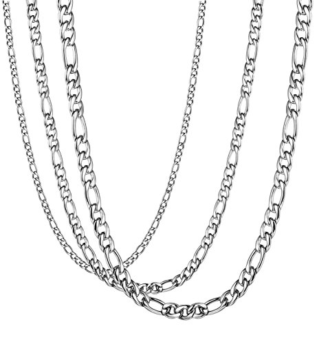 LOYALLOOK 3Pcs Assorted Stainless Steel Figaro Curb Chain Necklace for Men Women 18-36 Inches 30
