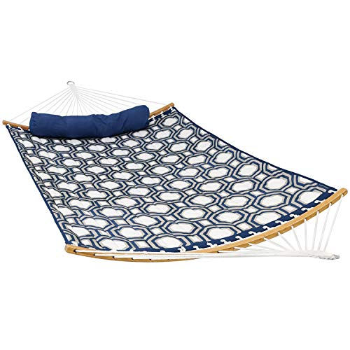 Hammock Bolster (Sunnydaze Quilted 2-Person Hammock with Curved Bamboo Spreader Bars, Heavy-Duty 450-Pound Weight Capacity, Navy and Gray Tiled Octagon)