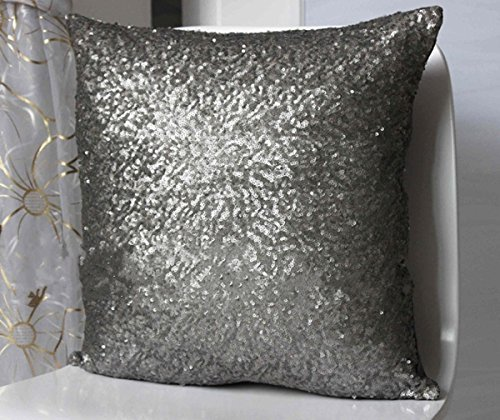 stylish comfy solid color sequins cushion cover throw pillow case cafe decor gray