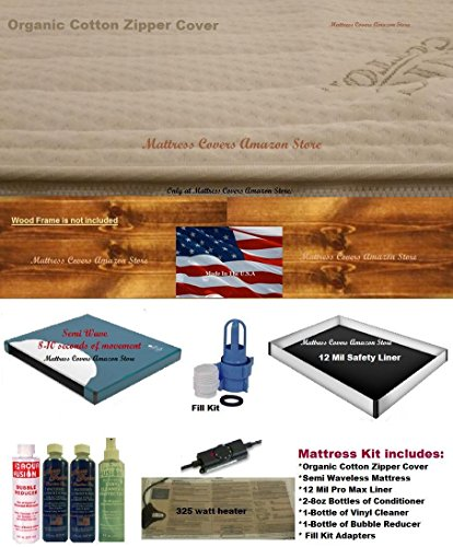 Semi Wave Waterbed Mattress - California King semi waveless waterbed mattress with zipper cover & Heater