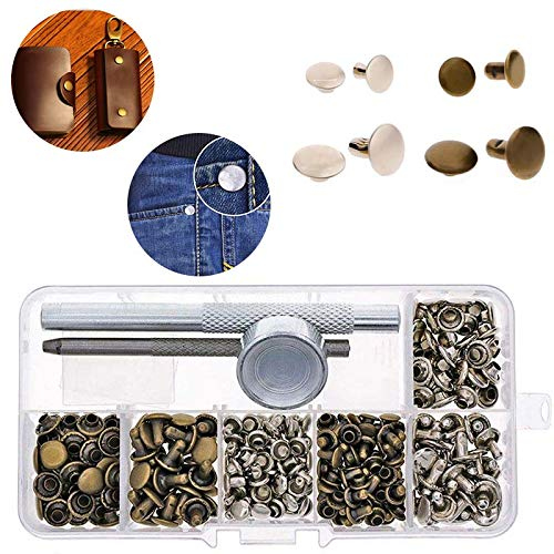 120 Sets Leather Rivets Double Cap Rivets with 3 Piece Fixing Tools for DIY Leather Craft, 2 Color 2 ()