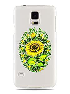 """GRÜV Case Design """"Bouquet de Girasoles Florales Arte Digital"""" - Diseñador Mejor Calidad de Impresión en Funda Carcasa Rigida Blanca - para Galaxy S5 i9600 G900"""