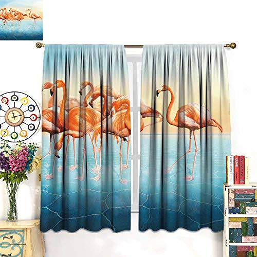 - longbuyer Curtains for bedroomBeautiful Photo Manipulation with Red Flamingo at Left Side Drapes Panels W84 x L72