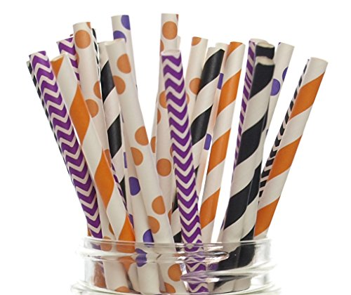 Halloween Straws (25 Pack) - Orange, Black & Purple Chevron, Stripe, Polka Dot October Trick or Treat Party Paper Straws]()