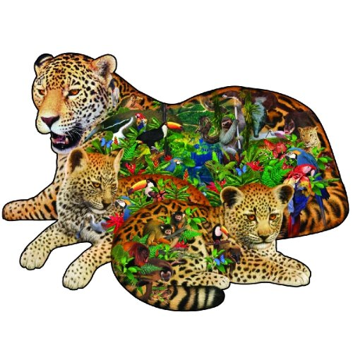 Sunsout Rainforest Jaguar Shaped Jigsaw Puzzle 1000pc