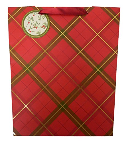 The Gift Wrap Company 6 Count Tall Trapezoid Gift Bags, Tartan (Box Treat Designer Red)
