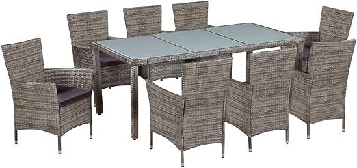 Tidyard Conjunto Muebles Jardín Exterior de Ratán Sintético y Vidrio con 1 Mesa, 8 Sillas y 8 Cojines de Asiento Gris: Amazon.es: Hogar
