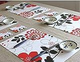 Japan&korea Black&red Style Pvc Place Mat Table Dinner Mat & Coaster 24pcs/lot Waterproof Wholesale #Rn293