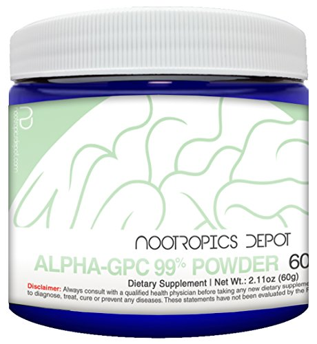 Alpha GPC Powder (99%) | 60 Grams | Cholinergic Supplement | Brain Health Supplement | Supports Cognitive Function by Nootropics Depot