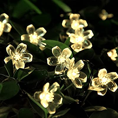 Solar Christmas String Lights 21ft 50 Led Blossom Flower Fairy Light Outdoor EBook Included for Garden Patio Wedding Party Bedroom Decoration (Warm White) by Innoo Tech