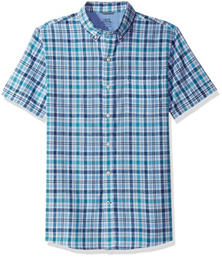 IZOD Men's Saltwater Dockside Chambray Plaid Short Sleeve Shirt, Little Boy Blue, Large