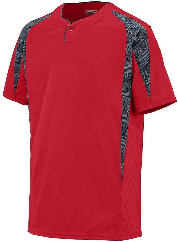 Augusta Sportswearメンズフライボール野球ジャージー B00PGZM8GIRed/Graphite/Black Print Small