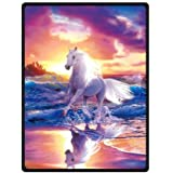 "HommomH 40"" x 50"" Blanket Comfort Warmth Soft Cozy Air conditioning Easy Care Machine Wash Running Horse Colorful"
