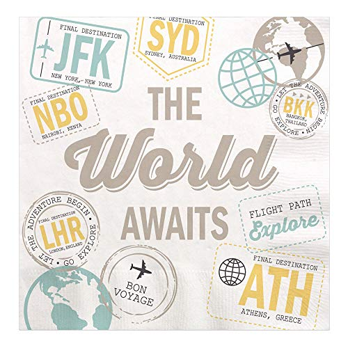 Big Dot of Happiness World Awaits - Travel Themed Party Luncheon Napkins - 16 Count
