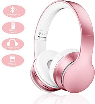 Amazon Com Ifecco Bluetooth Headphones 4 In 1 Upgrade Bluetooth Foldable Over Ear Headsets With Micro Support Sd Tf Card Compatible With Bluetooth Enabled Devices Rose Gold Electronics